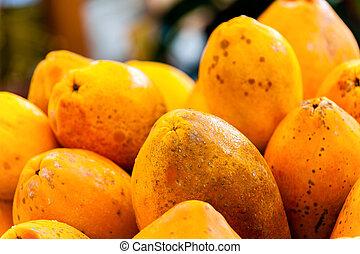 Papayas - Fresh Papayas presented on a Market