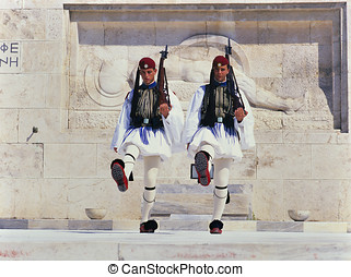 Guard change ceremony, Athens - ATHENS, GREECE - AUGUST 15:...