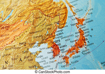Map of Japan and Korea - Detail of a world map on Japan and...