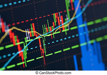 Stock market graph - Close-up of a stock market graph on a...