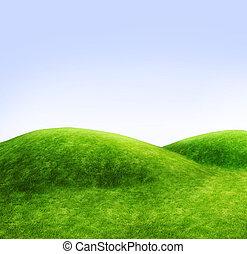 blu, verde, cielo, colline