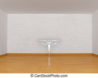 Alone metallic table in gallery - Alone console-table in...