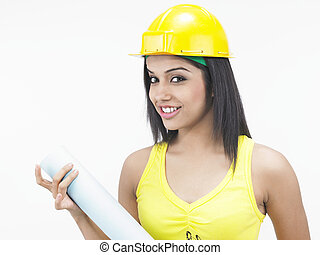 female construction worker with hat