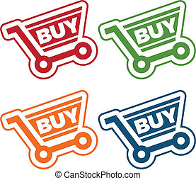 Shopping Cart Tags - Set of tags with shopping cart icons