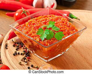 Red hot chili pepper sauce - Red hot chili pepper and...