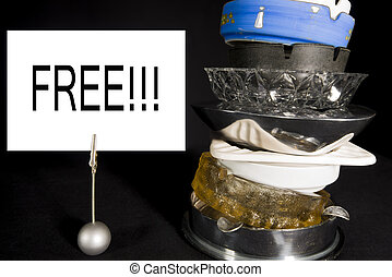 Stack of Ashtrays with 'Free' Sign - Stack of old ashtrays...