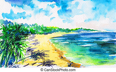 Beach - Hand painted tropical beach with green palm trees on...