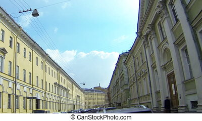 The facade of an old building in St. Petersburg. Milionnaya...