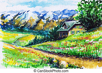 Landscape with alpine house ,fields and mountains in...