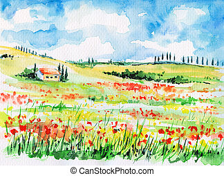 Tuscany - Landscape with cypress trees on colorful flowered...