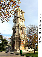tower with clock in dolmabahce palace - istanbul turkey