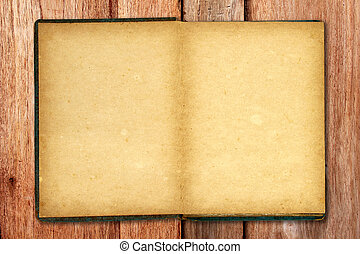 Old blank open notebook on wooden background