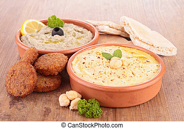 hummus, aubergine caviar and pita bread