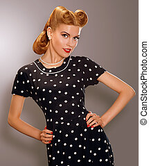 Romance. Styled Woman in Blue Retro Polka Dot Dress. Pin Up...