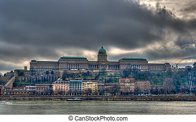 View of Buda Castle (Royal Palace) from Danube river -...