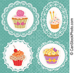 Cupcakes on Laces - Cupcakes on laces frames on polka dot...