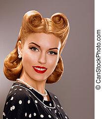 Nostalgia. Styled Smiling Woman with Retro Golden Hair...