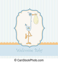 baby shower card with stork