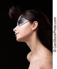 Haute Couture. Futuristic Brunette with Metallic...