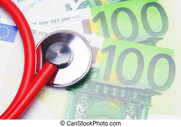 medical bill - Red stethoscope close-up on top of Euro...
