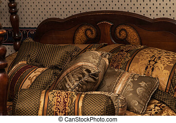 Antique Bed, Luxurious Pillows - Various sized and shaped...