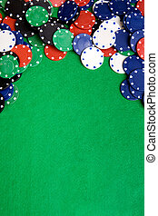 Casino Background - Casino chips on a green felt -...