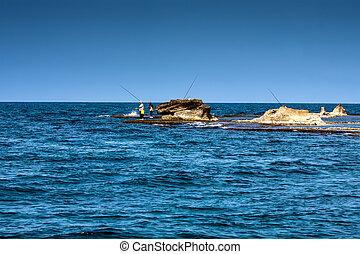 Akko - blue mediterranean sea landscap