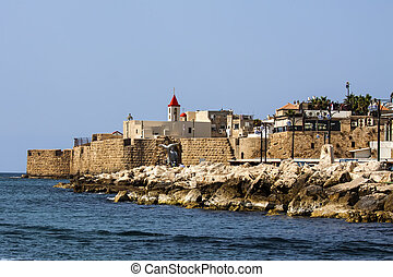 Akko - a view of Akko ancient city walls