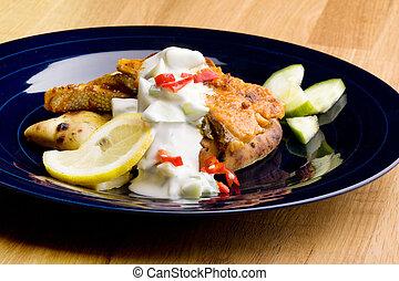 Salmon Tikki - A tantalizing salmon tikki with fresh raita...