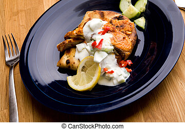 Salmon Tikka - A tantalizing salmon tikka with fresh raita...