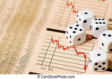 Stock Market Gamble - Dice and stock market charts in the...