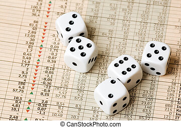 Stock Market Decision - Dice and stock market charts in the...