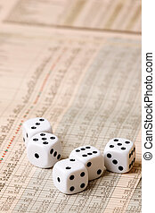 Dice and Stock Market Concept - Dice sitting on a stock...