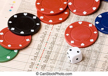 Stock Market Gamble - dice and casino chips on a stock...