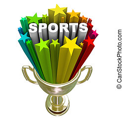 Sports Word Gold Trophy Winner Champion - The word Sports in...