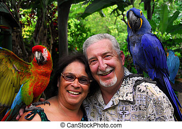 Senior Couple Tropical Travel - Senior Couple Having Fun On...
