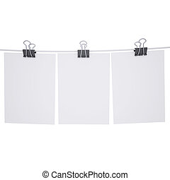 Binder paper with a rope. Isolated render on a white...