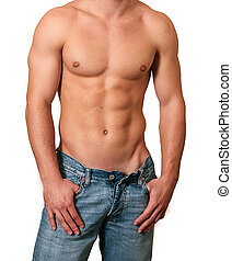Male chest and blue jeans isolated over white background