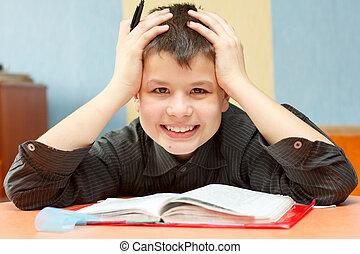 Pojke, student, grabbed, hans, huvud, rakt, svår,...