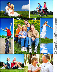 Happy family collage. - Happy family relaxing in the park...