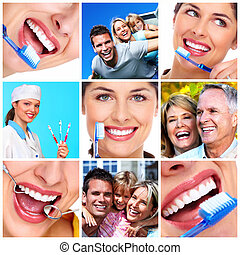 Dental health. - People with beautiful smile. Dental health.