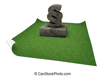 paragraph monument - stone paragraph symbol on grass isle -...
