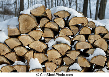 Oak Firewood - Stacked Oak firewood for a long winter