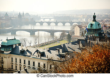 Panoramic view of Charles bridge on Vltava, Prague -...