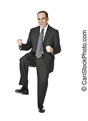 Businessman on white background - Triumphant businessman in...