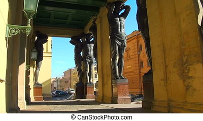 Sculpture of the Atlanteans in St Petersburg