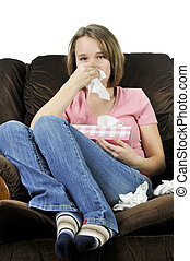 Teenage girl with a cold