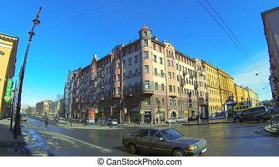 Facade of an old building in St. Petersburg - The facade of...