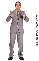 Excited Businessman - Full body view of an excited...