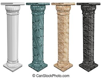 Marble columns - 3d illustration of a set of marble columns
